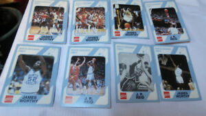 Coca-Cola Collegiate Cards-J.R.Reid(3), James Worthy(5)