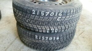 Pair of 2 Bridgestone Blizzak (on rims) 215/70R16 WINTER tires (