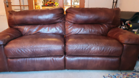** MUST GO-- REDUCED** Dark Brown leather sofa + 2 matching chairs