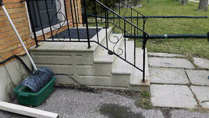Concrete steps and railing
