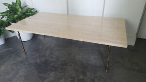 Vintage marble coffee table with faux bamboo (solid brass) legs