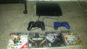 PS3 120GB WITH 2 CONTROLLERS AND GTA-5 PLUS MORE