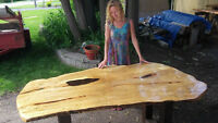 Live Edge and Reclaimed Wood Boardroom Dining and Coffee Tables