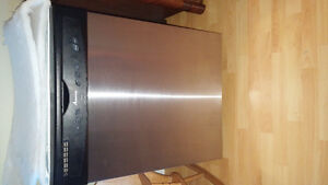 Stainless steel and black dishwasher