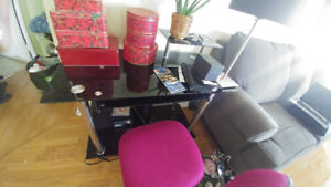 Black Glass Computer table  and office  chair dark pink