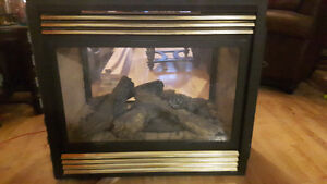 Double sided propane fireplace with mantles