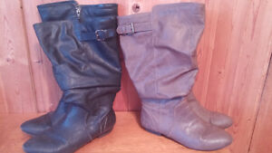 Brown and black pairs of boots