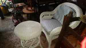 WHITE WICKER CHAIR +TABLE