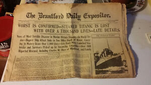 Steamer Titanic is Lost - antique - authentic newspaper - ships London Ontario image 1