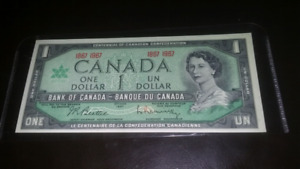 Uncirculated 1867 to 1967 Canadian $1 bill