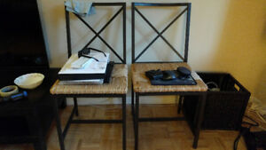 IKEA straw dinner table chairs (x2)