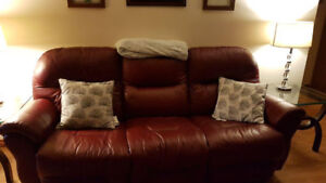 Leather sofa and loveseat