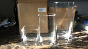 Wedding decor - square vases and glass gems