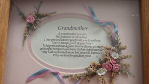 Wooden grandmother plaque glass front brand new