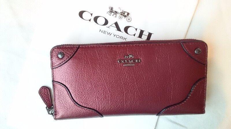 COACH MICKIE ACCORDION ZIP AROUND LEATHER WALLET