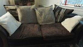 3 seater brown fabric sofa