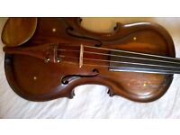 Violin , Bow and case Very Old, Ideal for Project