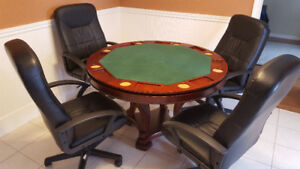 "48"" SOLID MAHOGANY POKER,  POCKET POOL, DINING TABLE WITH CHAIRS"