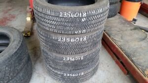 Set of 4 Bridgestone Dueler HT 235/60R18 tires (70% tread life)