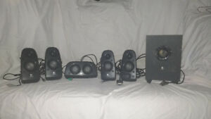 Logitech 6 Piece Surround Sound Speaker Set.