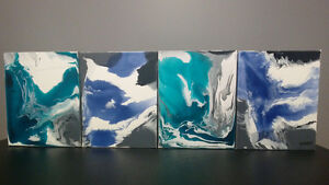 4 Modern Original Abstract Acrylic Paintings on Gallary Canvas