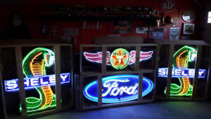 SHELBY FORD TEXACO NEON signs .