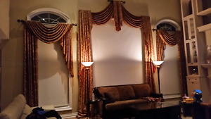 Silk blend drapes and rods