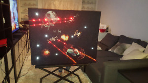 Star Wars Deathstar and X-wing painting