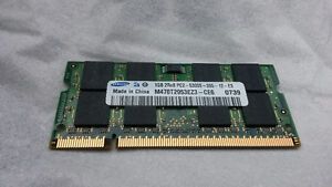 Ram memory for laptop 2×1GB PC2 5400 $20