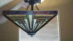 Tiffany style stained glass hanging lamp