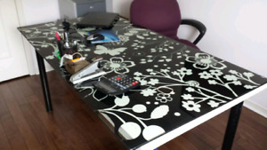Ikea glass top work desk and chair