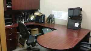 U-Shaped Desk, 2 Cabinet, 1 Task Chair, and 2 Guest Chairs