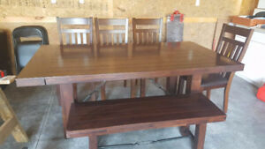 6-Piece Dining Room Set with Wooden Chairs & Bench *USED*
