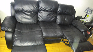 Black leather couch (incliner)