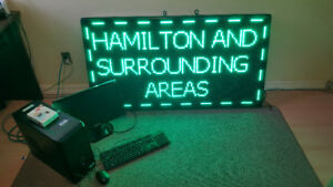 Scrolling Neon Green LED Advertising Sign