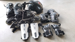 Kids roller blades, helmut and pads