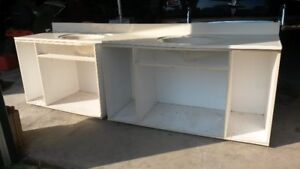 DOUBLE SINK CREAM CULTURED MARBLE COUNTER TOP AND FRAME