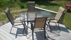 Glass Top Rectangle Table c/w 4 Chair Patio Set