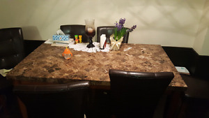 Marble Dining Table with 6 Leather Chairs