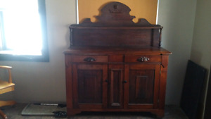Old Solid Wood Hutch
