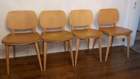 Set of 4 mustard retro dinning chairs