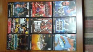 Variety of Wii games, PS2 games and PS2 console with excessories