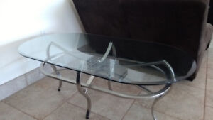 Coffee table stainless steel & glass