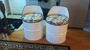 recycled oil drum seats