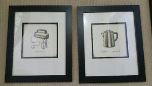 2 black and white vintage appliance drawings