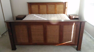 King-size bed, mattress and side tables. Pier One. Kingston Kingston Area image 1