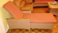 Wicker recliner made with real cedar wood (Red-orange color)
