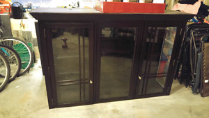 Espresso stained wood hutch - top only