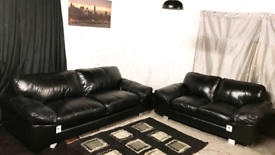 """"""" New ex display Dfs black real leather 3+2 seater sofas"""