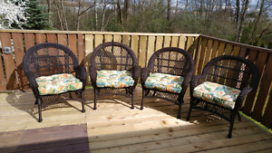 4 wicker chairs with custions. From Pier 1 575.00
